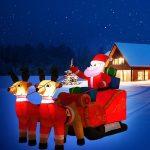 Opblaasbare Kerstman met Arreslee en LED