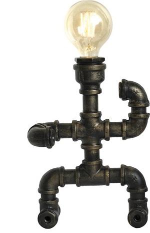 Dit grappige bureaulamp mannetje is gemaakt van waterleidingen en geeft een mooie industriële of steampunk touch. Perfect voor bars, restaurants en hotels... maar natuurlijk ook gaaf in je woonkamer.