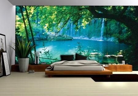 Fotobehang natuur - verborgen meer in het bos met watervallen op de achtergrond.