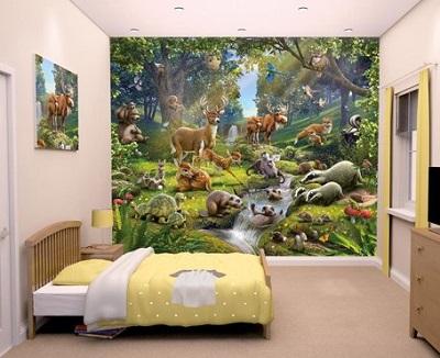 Fotobehang kinderkamer - Dieren in het bos.