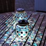 Glazen Solar Lantaarn Set met Mozaïek Lichteffect - Buiten