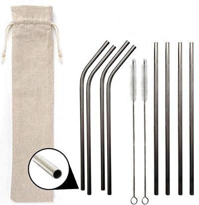 RVS rietjes - 8-delige set met 4 rechte en 4 gebogen rvs rietjes, 2 schoonmaakborsteltjes en een opberg tasje.