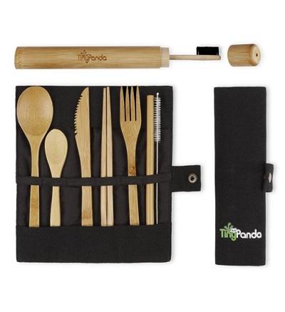 Bamboe bestek set 6-delig met bamboe tandenborstel.