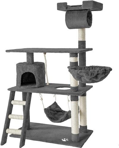 Krabpaal kat met meerdere plateaus, een kattenhangmat, hangend touw, huisje en trap.