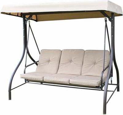 Luxe 3-zits schommelbank met luifel