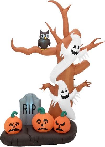 Halloween decoratie voor buiten - Opblaasbare boom met geesten, grafsteen, uit en pompoenen met ingebouwde LED verlichting.