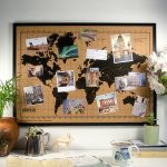 Wereldkaart Prikbord - Kurk met Houten Frame