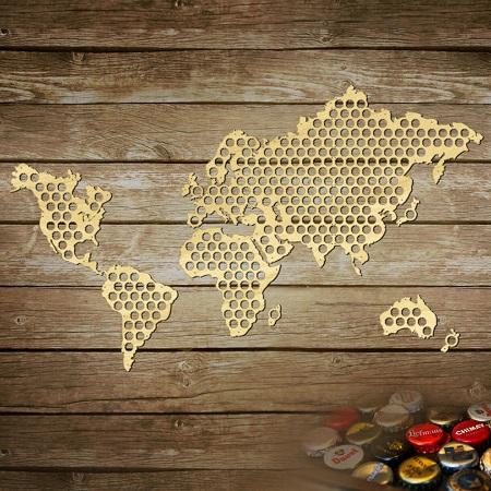 Bierdopjes wereldkaart met ruimte voor 296 bierdopjes.