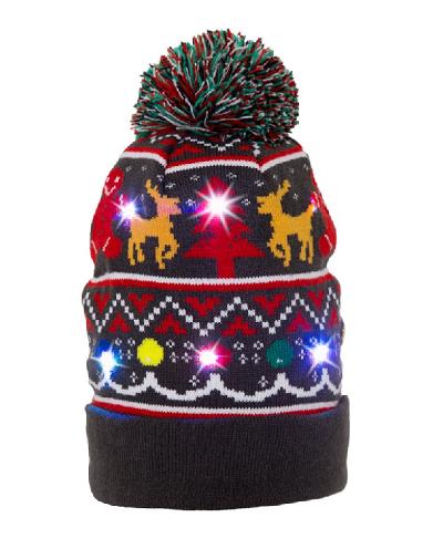Kerstmuts met gekleurde lichtjes.