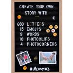Letterbord Zwart Vilt met Letters, Emojis, Clips en Fotohoekjes