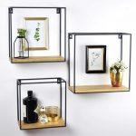 3 Wandboxen met Mangohout en Zwart Metalen Frame
