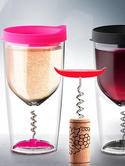 Vino Opener Cup - wijnglas met ingebouwde kurkentrekker.