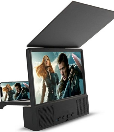 Universeel vergrootglas voor mobiele telefoon met ingebouwde Bluetooth speaker en oplaadpunt.