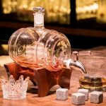 Wijnvat Whiskey Karaf met 4 Glazen en 8 Whiskey Stones