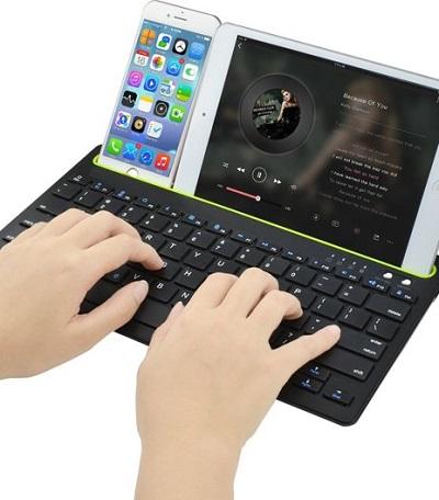 Draadloos Bluetooth toetsenbord voor smartphones en tablets.