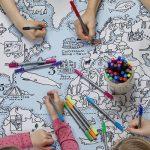 Wereldkaart Tafelkleed – Om in te Kleuren