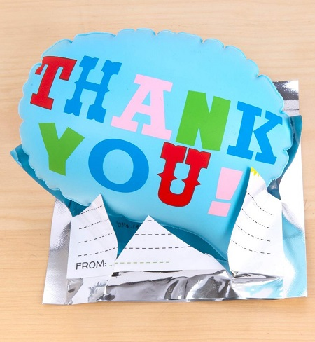 Pop up ballon met de tekst 'Thank You'.