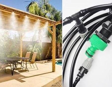Vernevelaar slang voor het verkoelen van je tuin, terras of balkon op warme dagen.