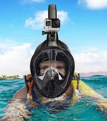 Full Face Duikmasker met Snorkel en Action Cam Houder