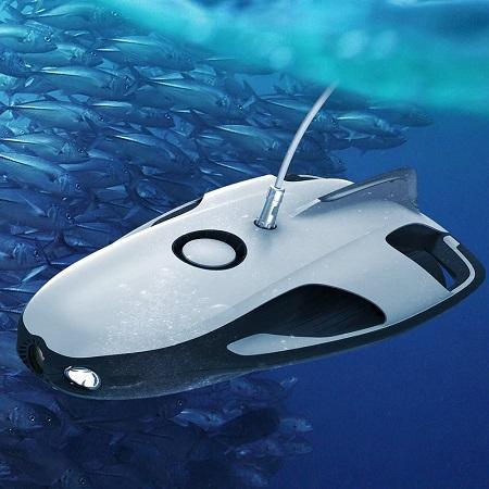 Onderwater drone met camera, sonar en led verlichting.