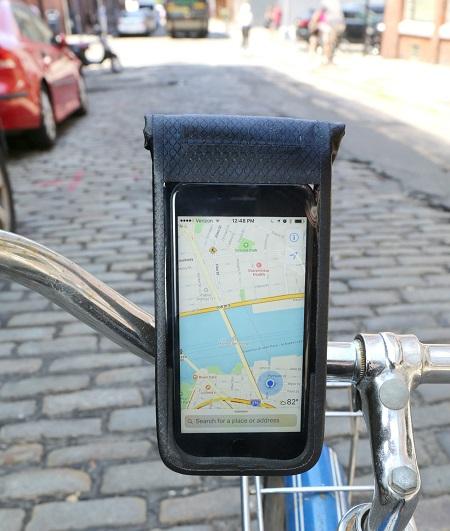 Waterdichte telefoonhouder voor op de fiets.
