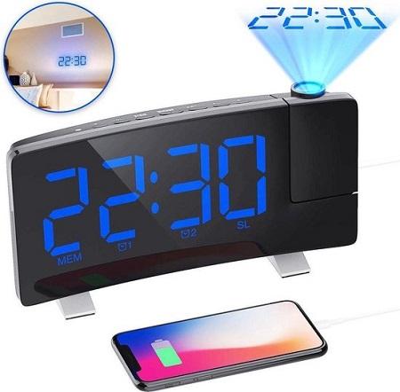 Digitale Wekkerradio met Projectie en USB Oplaadfunctie