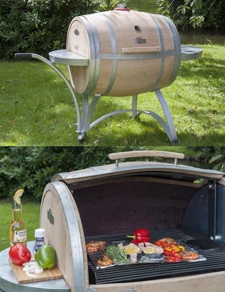 Beefmaster Barrel BBQ - een barbecue gemaakt van een echt eikenhouten wijnvat.