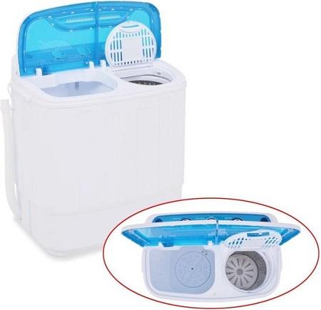 Mini wasmachine met dubbele trommel die zowel kan wassen als centrifugeren.