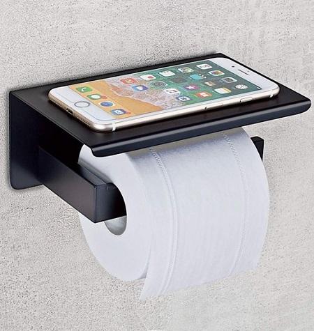 Handige toiletrolhouder met een plankje voor je telefoon.