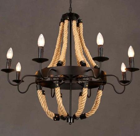 Industriële kroonluchter van ijzer en handgevlochten henneptouw met 8 lampen.