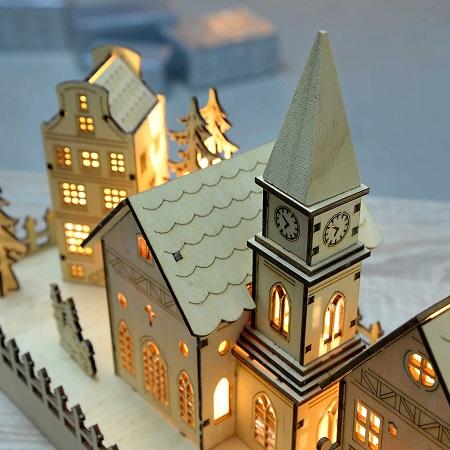 Houten Kerstdorpje met LED Verlichting