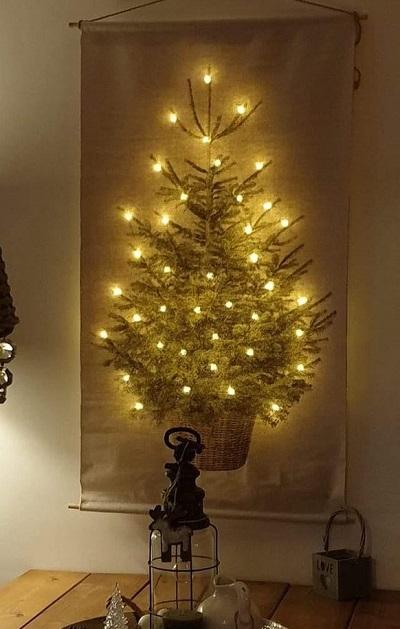Kerstboom op Canvas met LED Verlichting