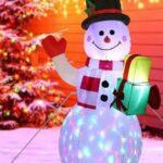 Opblaasbare Sneeuwpop met Gekleurde LED Verlichting - 150 cm Hoog