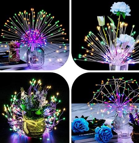 Vuurwerk LED lampen met 200 gekleurde LED's.