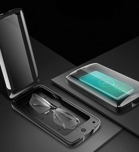 Draadloze UV sterilisator die ook als oplader voor je telefoon gebruikt kan worden.
