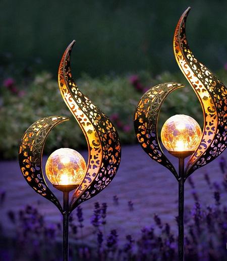 Flame – Solar  Tuinlampen met Grondspies – 2 Stuks