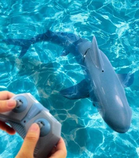 Op afstand bestuurbare haai in het water.